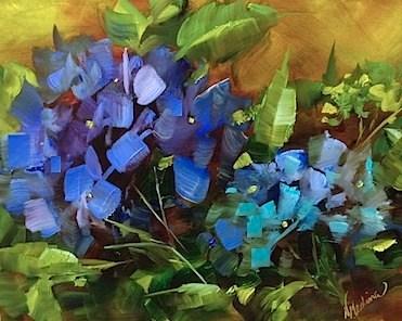 """Spring Hope Blue Hydrangeas and a Tour of the Dallas Arboretum by Texas Flower Artist Nancy Medina"" original fine art by Nancy Medina"