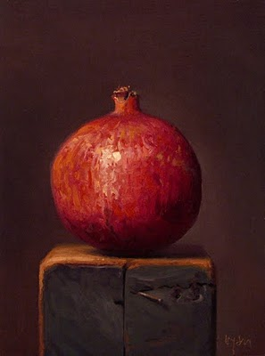"""Pomegranate on a Wood Block"" original fine art by Abbey Ryan"