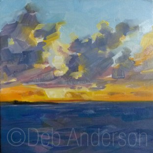 """Oil Painting: Ocean Sunset"" original fine art by Deb Anderson"