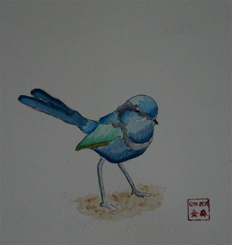 """Splendid Fairywren"" original fine art by Gin Sen"