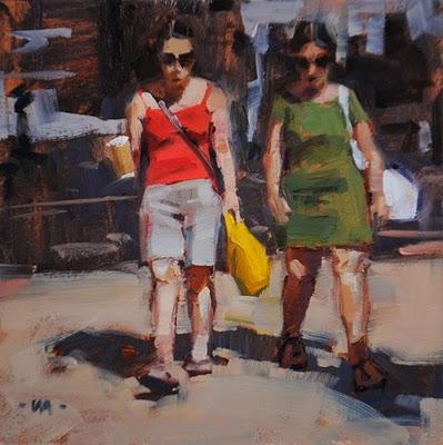 """""""Hot Day, Hot Coffee"""" original fine art by Carol Marine"""