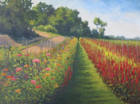 """'Flower Farm Shadows' An Original Oil Painting by Claire Beadon Carnell"" original fine art by Claire Beadon Carnell"
