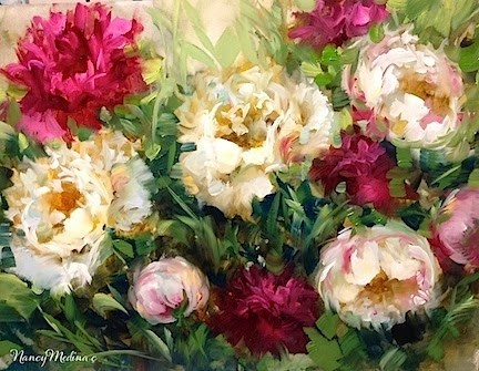 """Pink Sorbet Peonies and an Italy Workshop"" original fine art by Nancy Medina"