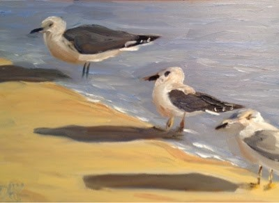 """Seabirds 5"" original fine art by Debra Kennedy"