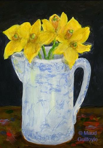 """Heirloom 8, Blue and White China with Daffodils on Artist's Table"" original fine art by Maud Guilfoyle"