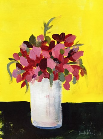 """pink on yellow"" original fine art by Pamela Munger"