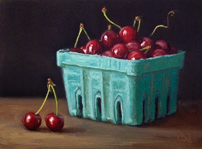 """Cherries from the Farmers' Market"" original fine art by Abbey Ryan"