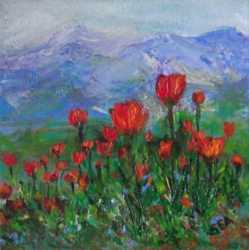 """2036 - Tulip Garden - Miniature Masterpiece Series"" original fine art by Sea Dean"
