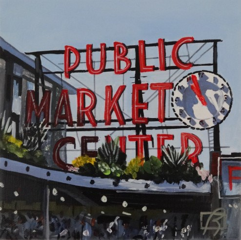 """Seattle Public Market"" original fine art by Andre Beaulieu"