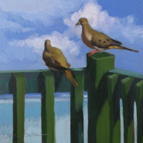 Tropical Doves oil painting birds on green fence original fine art by Diane Hoeptner