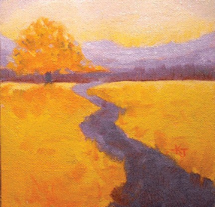 """#11 Lone Oak, Autumn Glow"" original fine art by Kathy Johnson"