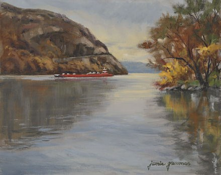 """Red Barge on a Gray Day"" original fine art by Jamie Williams Grossman"