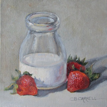 """STRAWBERRIES AND CREAM An Original Oil Painting by Claire Beadon Carnell Thirty Paintings in Thirty"" original fine art by Claire Beadon Carnell"