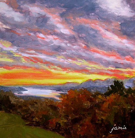 """Fall Sunset at Olana"" original fine art by Jamie Williams Grossman"