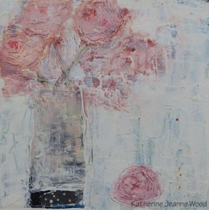 """Cottage chic pink roses floral painting No 97"" original fine art by Katie Jeanne Wood"