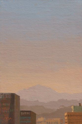 """View of North Seoul Mountains (South Korea 2013 painting #4 of 4)"" original fine art by Abbey Ryan"