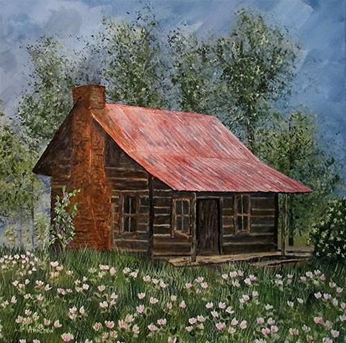 """Impressionist Landscape Painting Clover Cabin by Mary Arneson Art-Works of Whimsy"" original fine art by Mary Arneson"