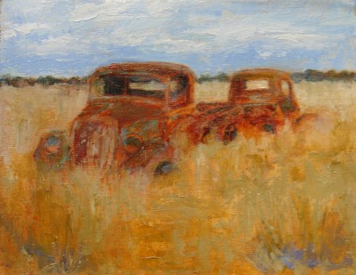 """""""OLD TRUCKS OUT TO PASTURE"""" original fine art by Susan Hammer"""