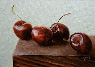 """Row of Cherries"" original fine art by Jonathan Aller"