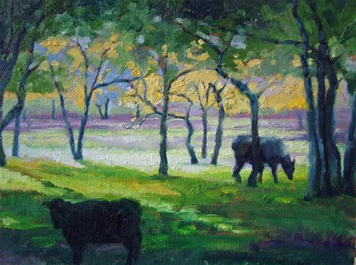 """Cows in the Shade"" original fine art by Nancy Paris Pruden"