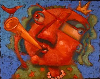 """Tootin' My Own Horn"" original fine art by Brenda York"