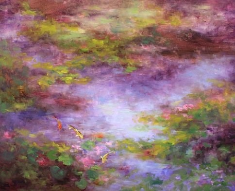 """OtherWorld ~ Koi Pond of the Dallas Arboretum by Nancy Medina"" original fine art by Nancy Medina"