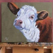 """Calf Portrait"" original fine art by Michelle Wolfe"