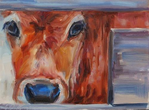 """Calf - Original oil by Carol DeMumbrum, Day 12"" original fine art by Carol DeMumbrum"