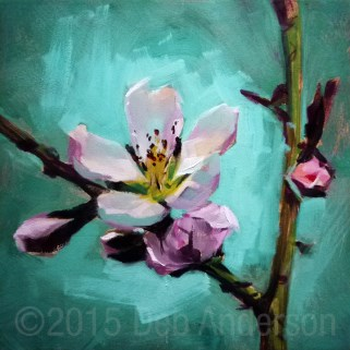 """Oil Painting of a Peach Blossom"" original fine art by Deb Anderson"