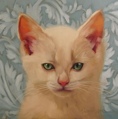 """Killer  small painting of kitten"" original fine art by Diane Hoeptner"