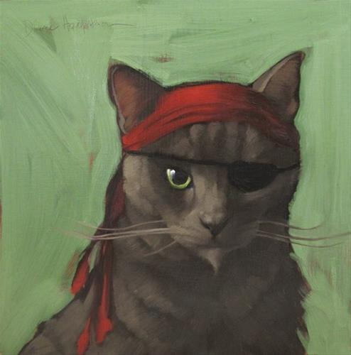 """Shorthair Pirate, character cat no. 2"" original fine art by Diane Hoeptner"