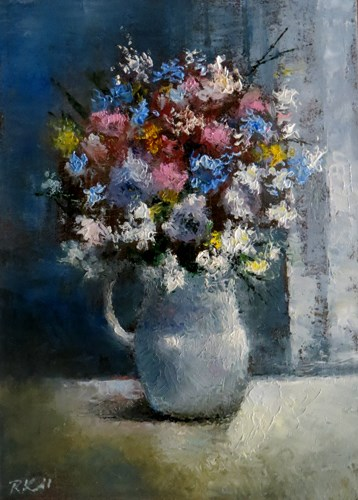 """Flowers by the Blinds"" original fine art by Bob Kimball"