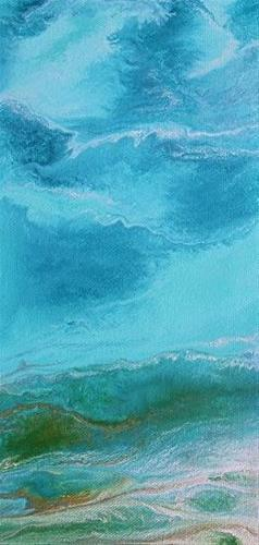 """Contemporary Abstract Seascape Painting,Coastal Art Tropical Wave- Mini# 1 by International Contem"" original fine art by Kimberly Conrad"