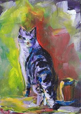 """2079 - Kitty by a Red Shed - ACEO Pal Series"" original fine art by Sea Dean"