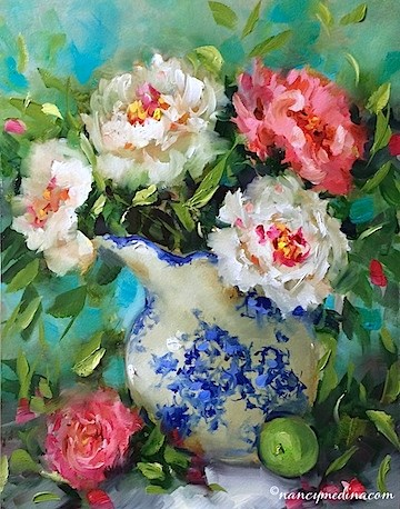 """Winter Rhapsody Peonies - Flower Paintings by Nancy Medina"" original fine art by Nancy Medina"