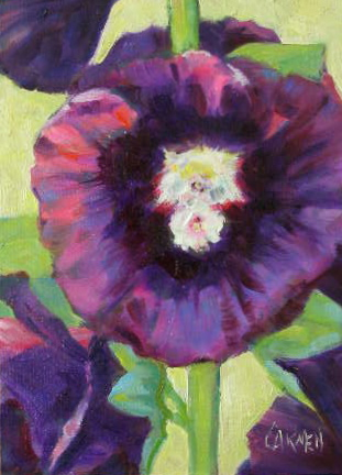 """Suzanne's Hollyhocks, 7X5"" original fine art by Carmen Beecher"