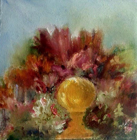 """At Artgul Garden"" original fine art by Judy Usavage"