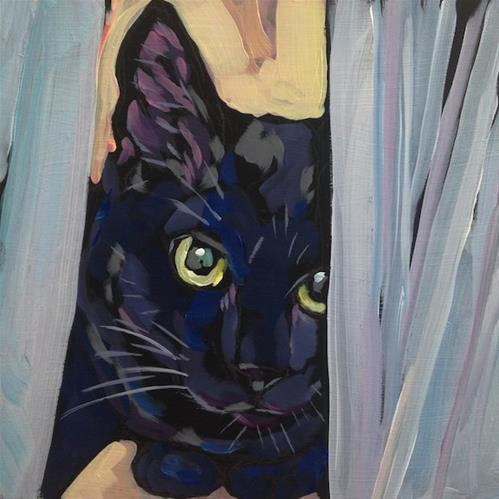 """March 16, Maud Between The Curtains"" original fine art by Kat Corrigan"