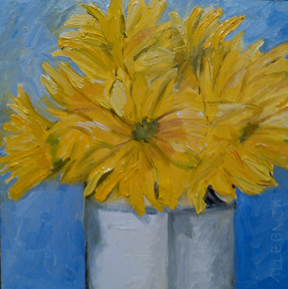 """bunch of yellow flowers"" original fine art by Jo Allebach"