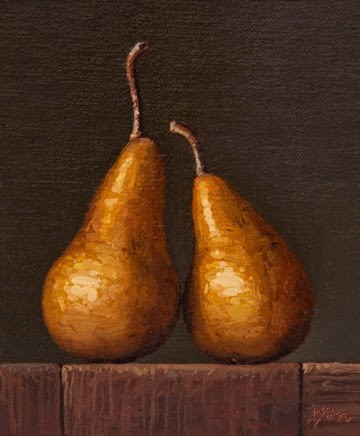 """Two Bosc Pears (Spring)   (+ Philadelphia Museum of Art)"" original fine art by Abbey Ryan"