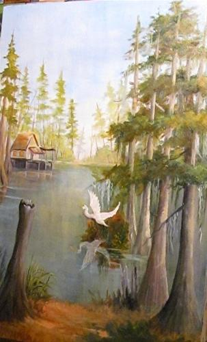 """Camp and Egret Bayou"" original fine art by Barbara Haviland"