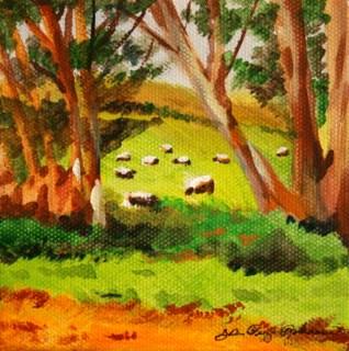 """Fields of Sheep"" original fine art by JoAnne Perez Robinson"