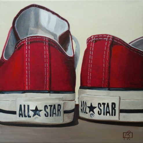 """Red Wine Converse II"" original fine art by Andre Beaulieu"