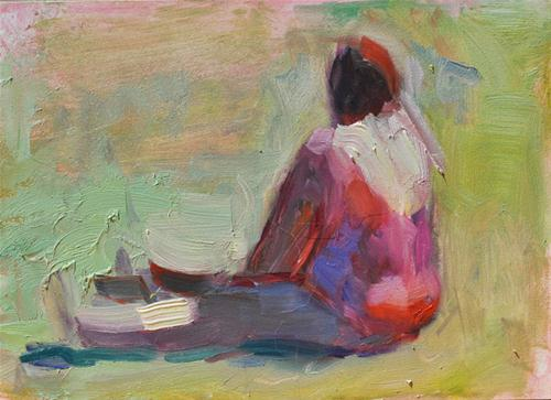 """Sitting Like a Kid"" original fine art by Sharon Savitz"