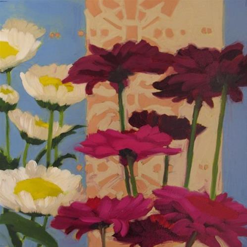 """Flower Fields pair of decorative paintings"" original fine art by Diane Hoeptner"