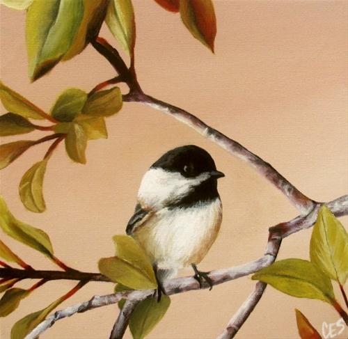 """Young Chickadee"" original fine art by ~ces~ Christine E. S. Code"