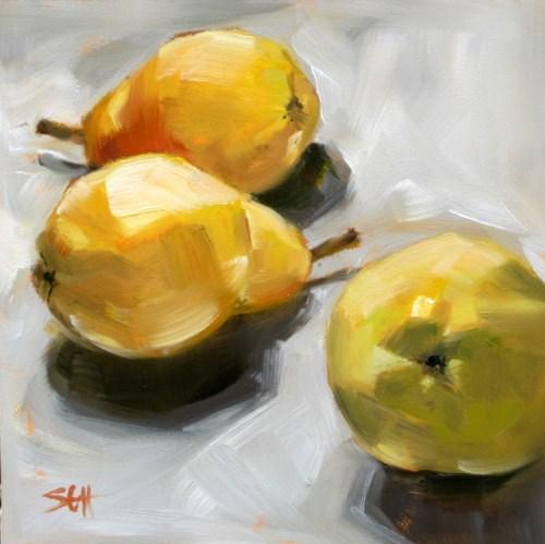 """""""3 Pears"""" original fine art by Sandy Haynes"""