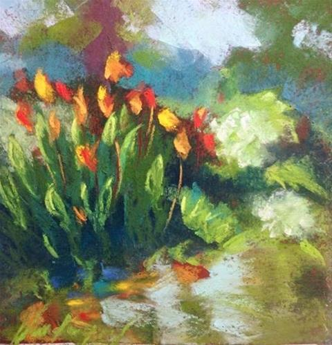 """Orange Cannas"" original fine art by Karen Vanderpool"