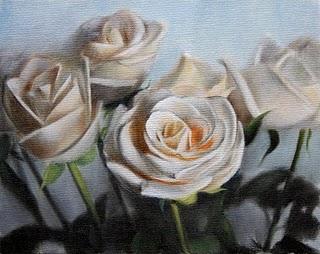 """""""White Roses"""" original fine art by Jonathan Aller"""