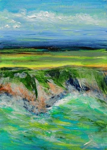 """3154 - LAND AND SEA - ACEO Series"" original fine art by Sea Dean"